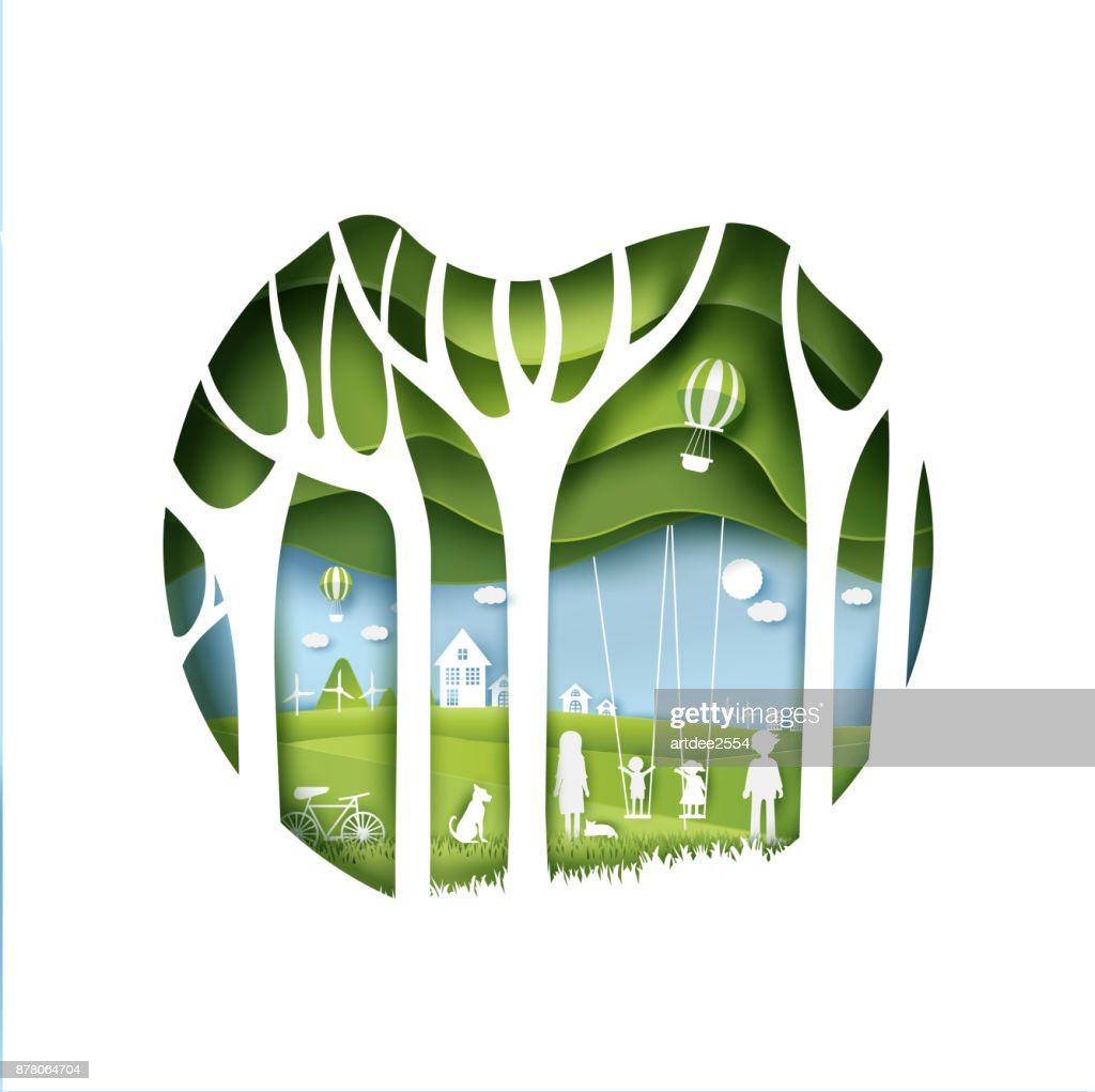 eco paper art design style,  tree and family  with nature.vector illustration