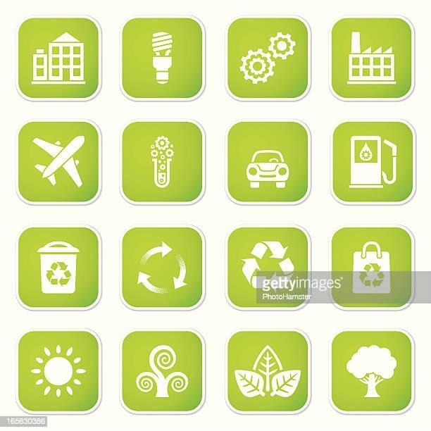 eco set sq stickers ii - hybrid car stock illustrations, clip art, cartoons, & icons