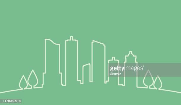 ilustraciones, imágenes clip art, dibujos animados e iconos de stock de eco single line skyline - aire libre