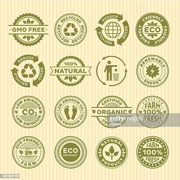 eco stamps - organic stock illustrations, clip art, cartoons, & icons