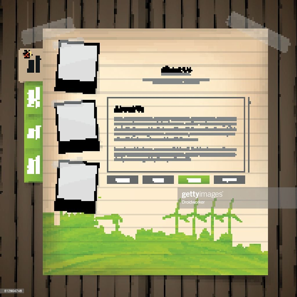 eco style vector web template on wood board,