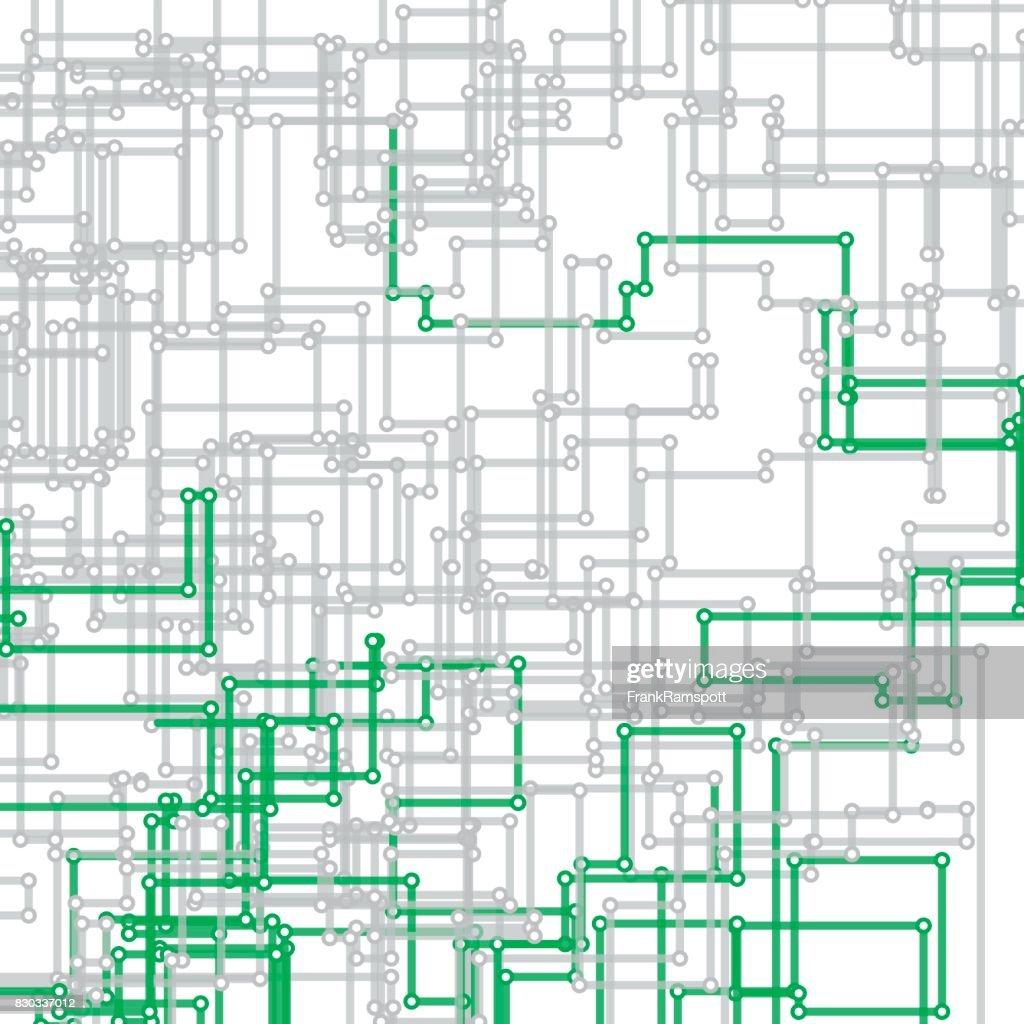 Eco Tec vektor rektangulära krets linjemönster : Illustrationer