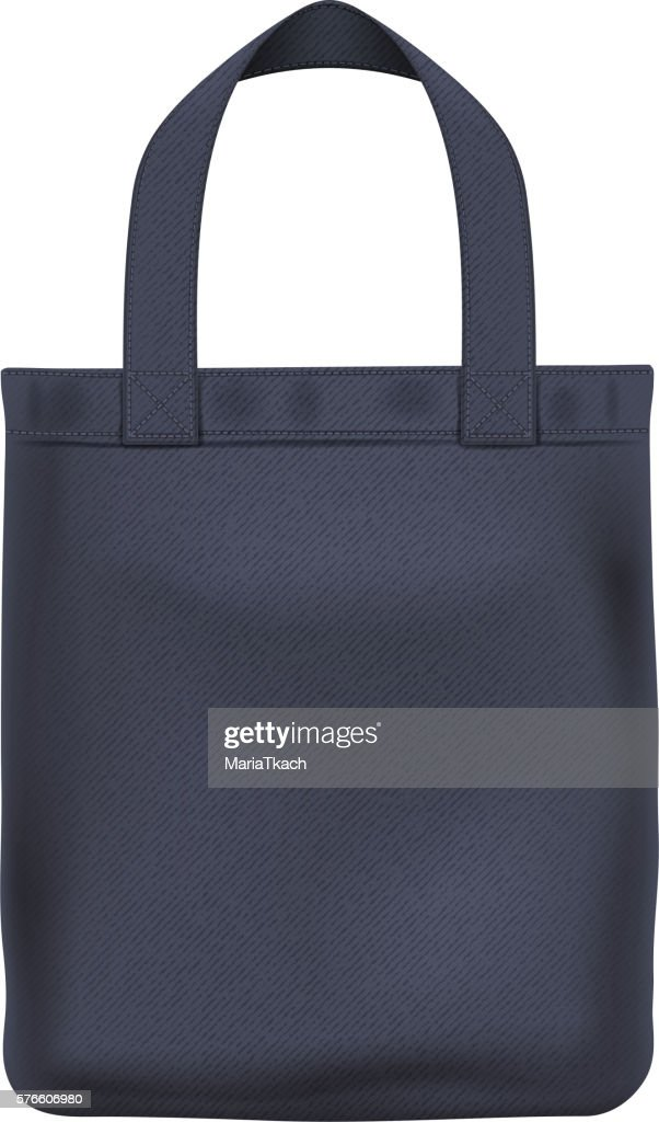 Eco textile black tote bag vector illustration.