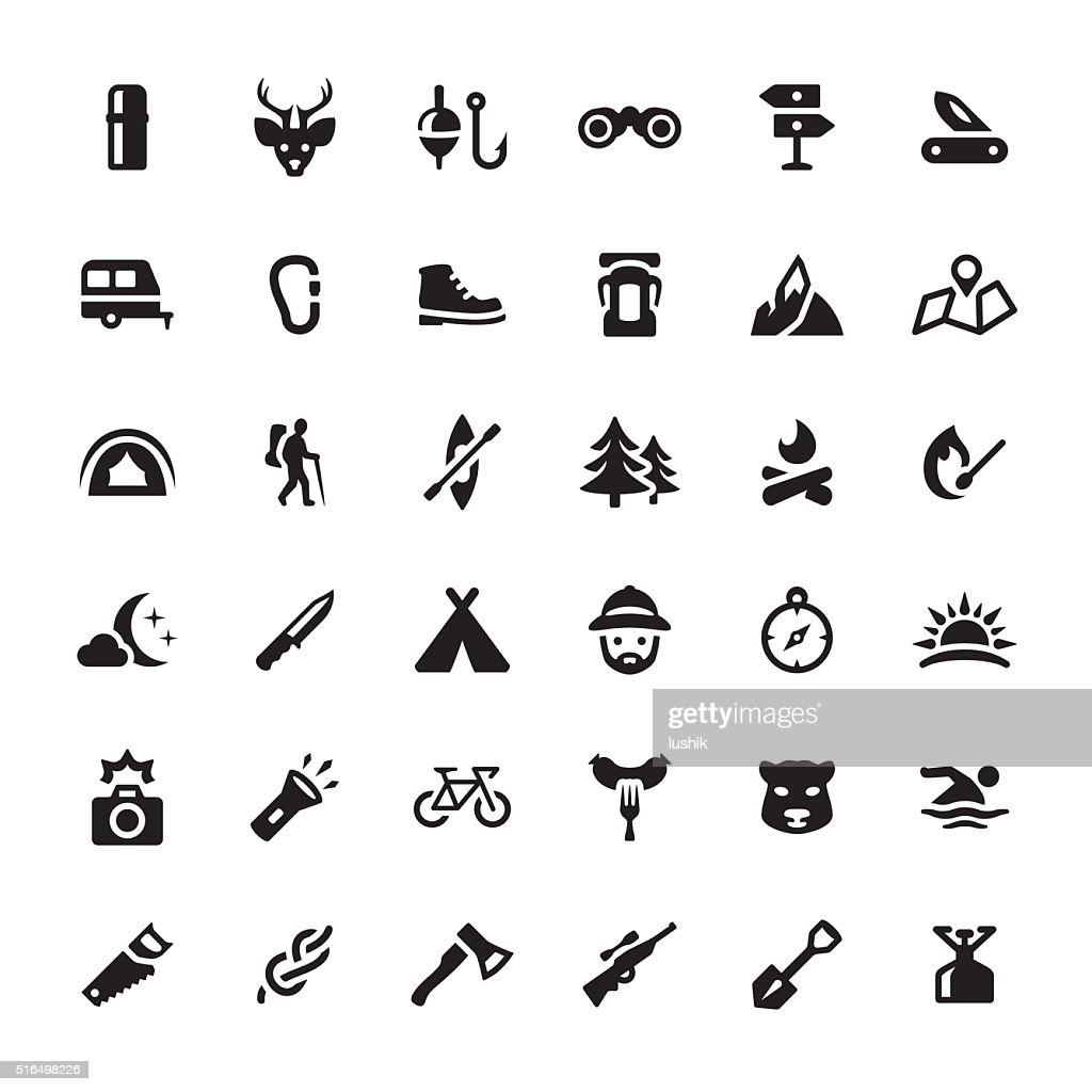 Eco Tourism & Hiking vector symbols and icons : stock illustration