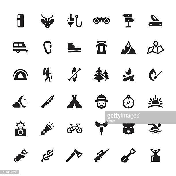 eco tourism & hiking vector symbols and icons - match sport stock illustrations, clip art, cartoons, & icons