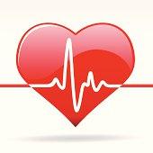 Ecocardiogram illustration on heart shape
