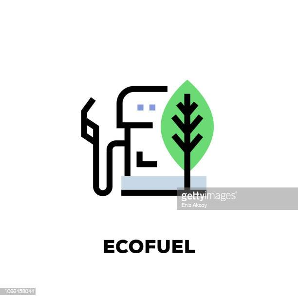 ecofuel line icon - alternative fuel vehicle stock illustrations