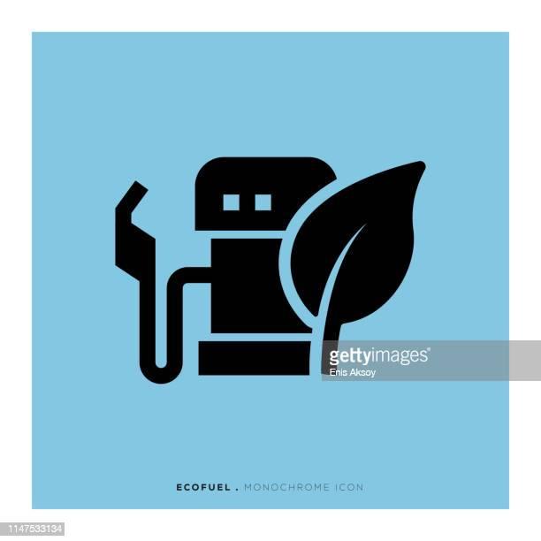 ecofuel monochrome icon - biodiesel stock illustrations, clip art, cartoons, & icons