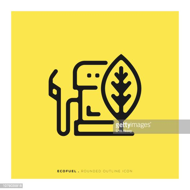 ecofuel rounded line icon - biodiesel stock illustrations, clip art, cartoons, & icons