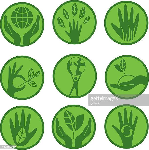 Ecologic concern icon set