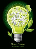 Ecological concept with lightbulb on black background