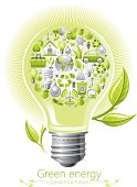 Ecological concept with lightbulb on white background