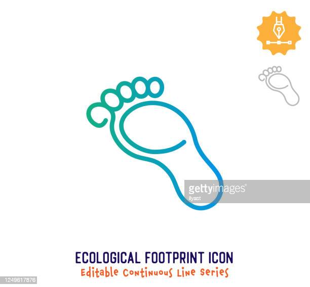 ecological footprint continuous line editable icon - human foot stock illustrations