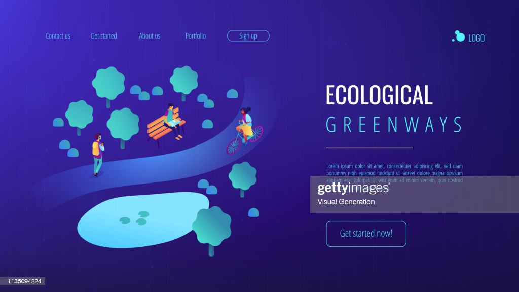 Ecological greenway isometric 3D concept illustration.
