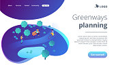 Ecological greenway isometric 3D landing page.