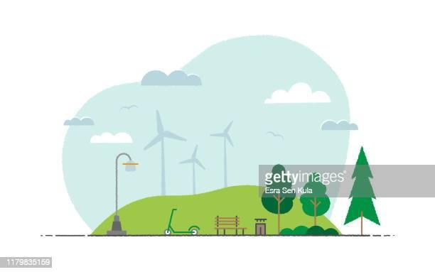 bildbanksillustrationer, clip art samt tecknat material och ikoner med ekologisk livsstil landskapsmotiv-grunch platt illustration - vindkraft