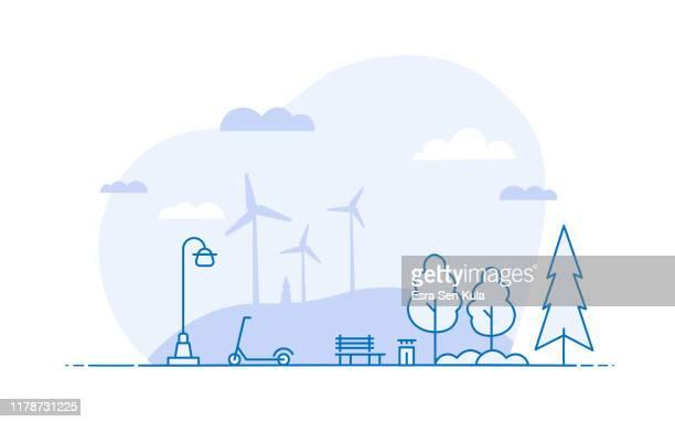 illustrazioni stock, clip art, cartoni animati e icone di tendenza di ecological lifestyle landscape scene - line illustration concept with editable stroke - scena rurale