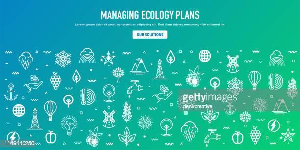 illustrations, cliparts, dessins animés et icônes de plan de gestion écologique contour style bannière web design - pollution
