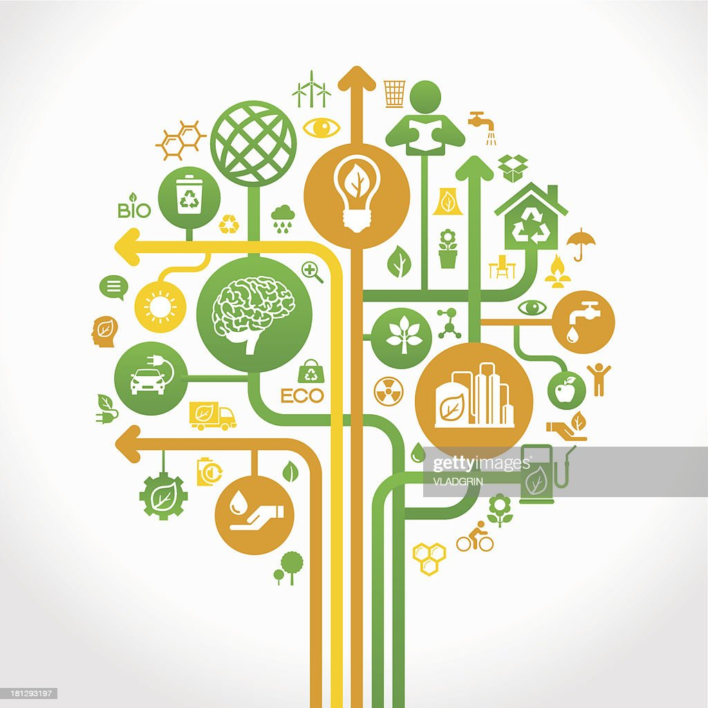 Ecology abstract background with tree and icons