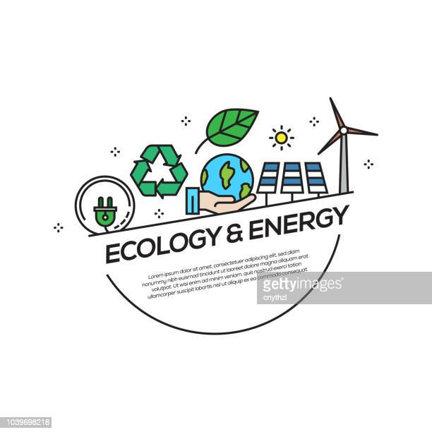 ecology and energy concept flat line icons - nuclear energy stock illustrations