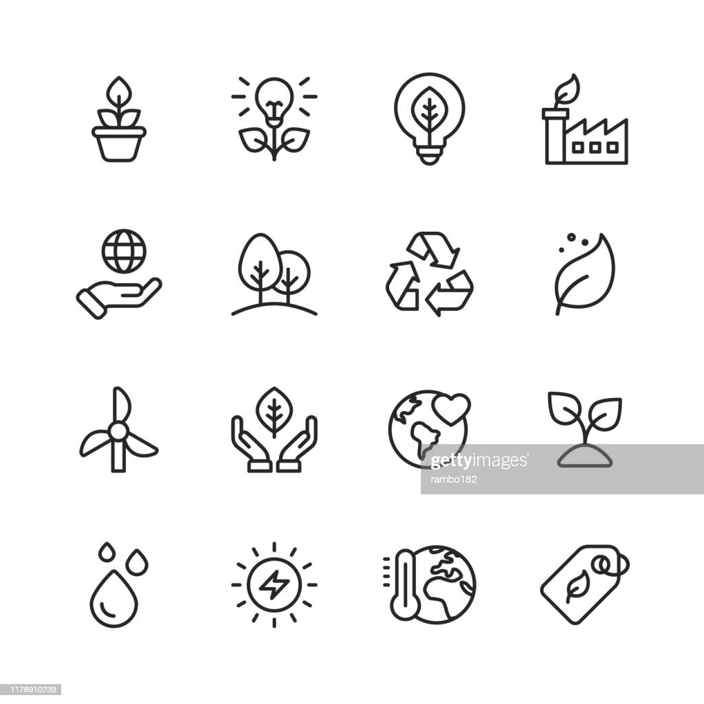 Ecology and Environment Line Icons. Editable Stroke. Pixel Perfect. For Mobile and Web. Contains such icons as Leaf, Ecology, Environment, Lightbulb, Forest, Green Energy, Agriculture. : stock illustration
