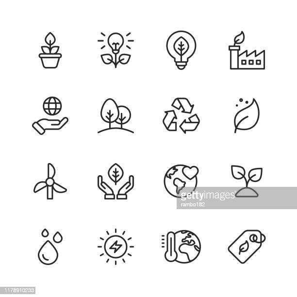 illustrazioni stock, clip art, cartoni animati e icone di tendenza di ecology and environment line icons. editable stroke. pixel perfect. for mobile and web. contains such icons as leaf, ecology, environment, lightbulb, forest, green energy, agriculture. - immagine