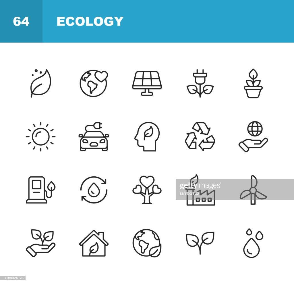 Ekologi och miljö linje ikoner. Redigerbar stroke. Pixel perfekt. För mobil och webb. Innehåller sådana ikoner som löv, ekologi, miljö, glödlampa, skog, grön energi, jordbruk, vatten, klimatförändringar, återvinning. : Illustrationer