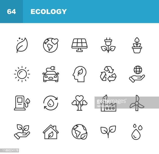 ecology and environment line icons. editable stroke. pixel perfect. for mobile and web. contains such icons as leaf, ecology, environment, lightbulb, forest, green energy, agriculture, water, climate change, recycling. - plant stock illustrations