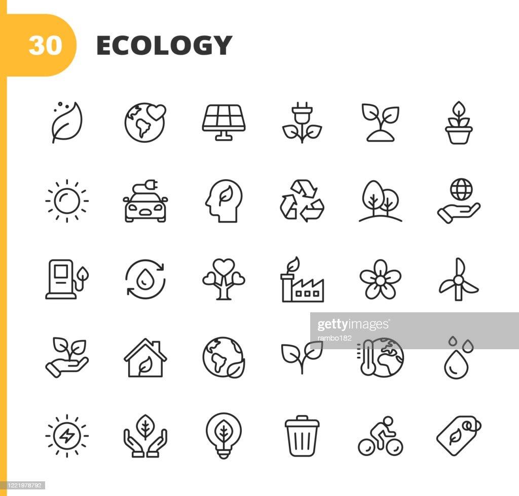 Ecologie en Milieu Lijn Iconen. Bewerkbare slag. Pixel Perfect. Voor mobiel en web. Bevat iconen als Leaf, Ecologie, Milieu, Gloeilamp, Bos, Groene Energie, Landbouw, Water, Klimaatverandering, Recycling, Elektrische Auto, Zonne-energie. : Stockillustraties