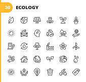 Ecology and Environment Line Icons. Editable Stroke. Pixel Perfect. For Mobile and Web. Contains such icons as Leaf, Ecology, Environment, Lightbulb, Forest, Green Energy, Agriculture, Water, Climate Change, Recycling, Electric Car, Solar Energy.