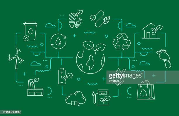 illustrazioni stock, clip art, cartoni animati e icone di tendenza di stile linea banner web relativo all'ecologia e all'ambiente. illustrazione vettoriale di design lineare moderno - risorse sostenibili