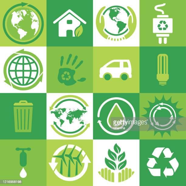 エコロジーと環境の正方形のアイコンセット - 水の無駄遣い点のイラスト素材/クリップアート素材/マンガ素材/アイコン素材