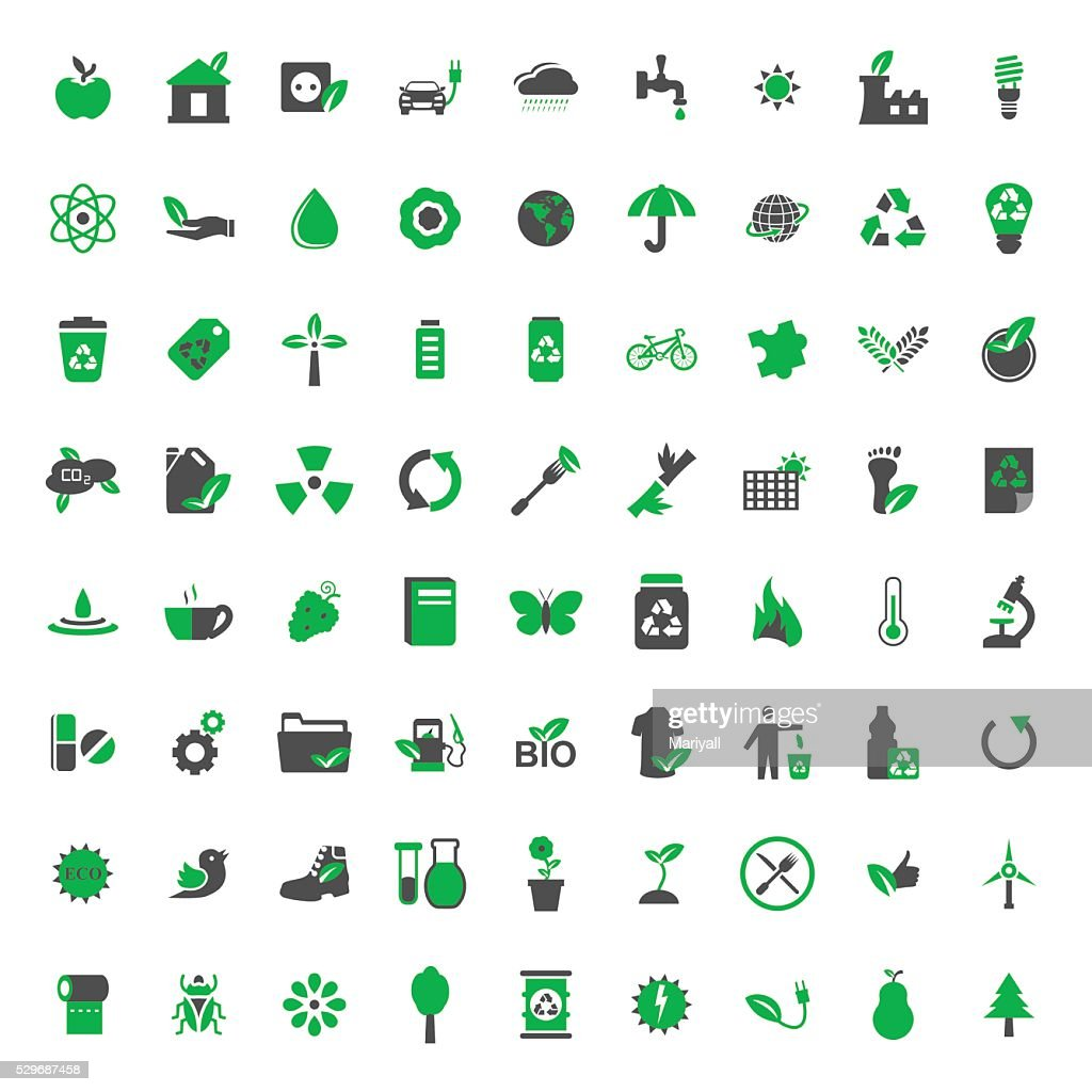 Ecology and environment vector icons set.Vector symbols. Vector illustration