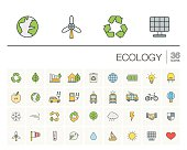 Ecology and environmental color vector icons