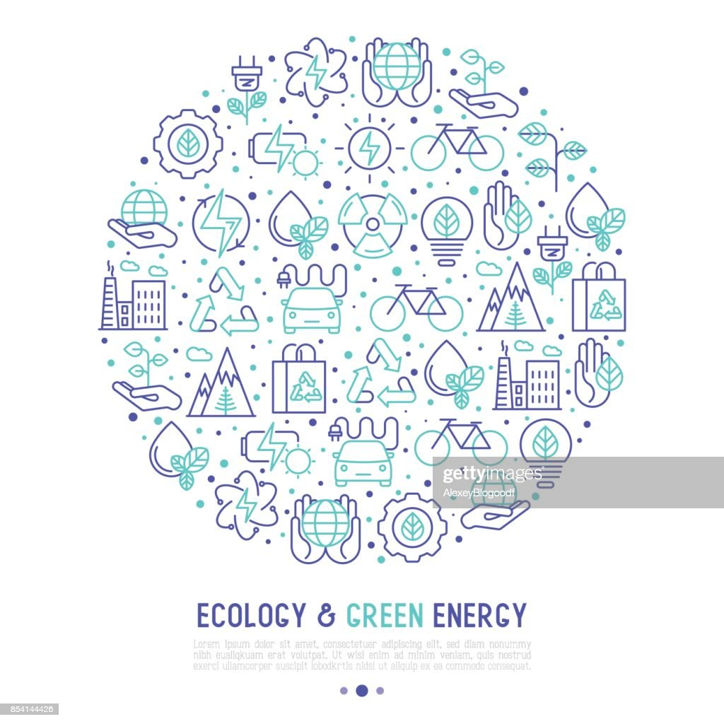 Ecology and green energy concept in circle with thin bicolor line icons for environmental, recycling, renewable energy, nature. Vector illustration for banner, web page, print media.