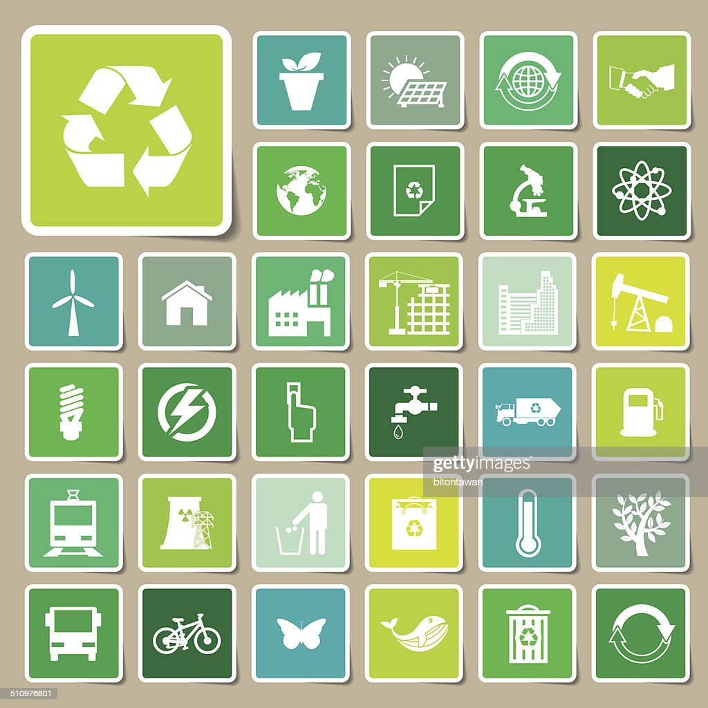 Ecology and recycle icons, Sticker vector eps10