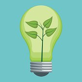 ecology bulb energy with leaves