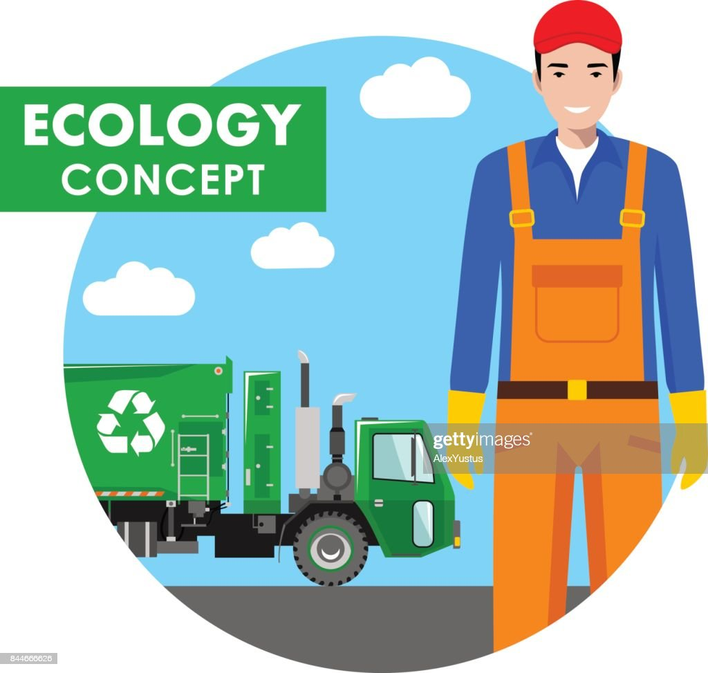 Ecology concept. Detailed illustration of garbage man and garbage truck on blue background in flat style. Vector illustration.