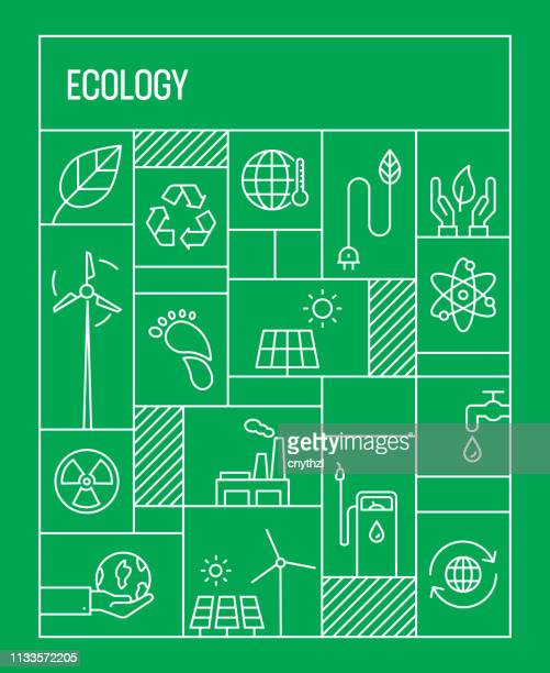 ecology concept. geometric retro style banner and poster concept with ecology line icons - environmentalism stock illustrations