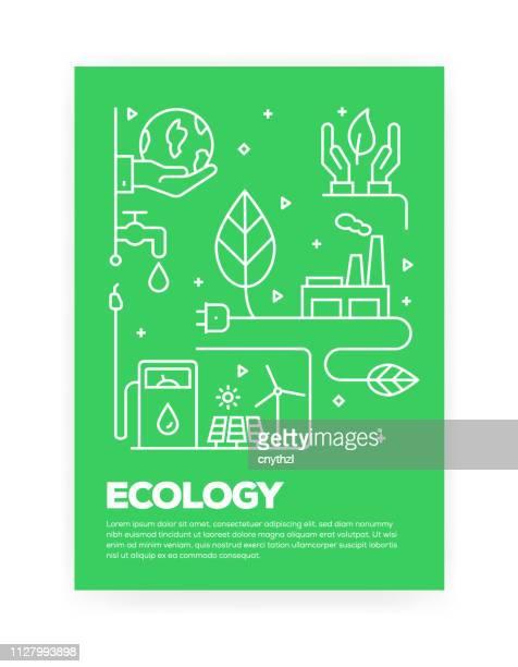 ilustraciones, imágenes clip art, dibujos animados e iconos de stock de ecología concepto línea estilo diseño de coberturas para anual informe, folleto, folleto. - ecosistema