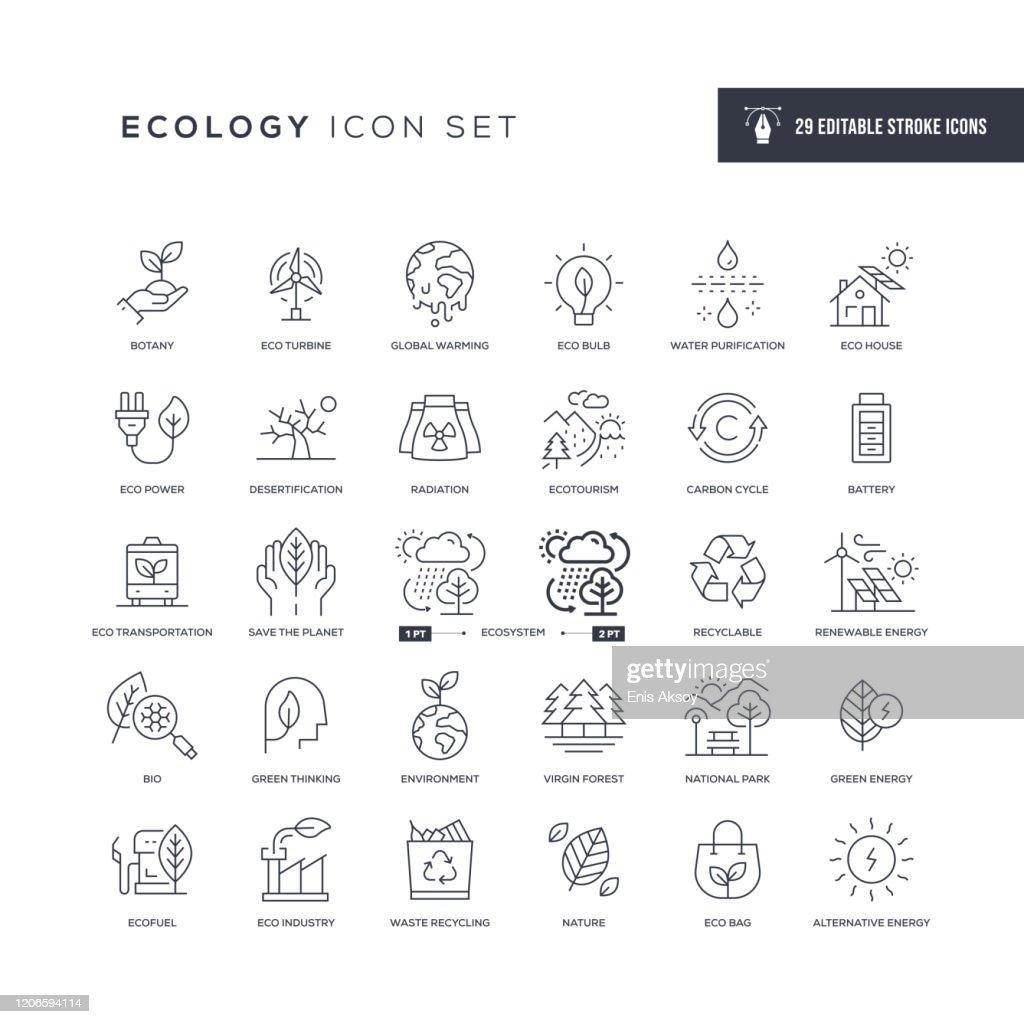 Ikon för ekologirelig linjelinje : Illustrationer