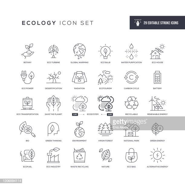 ecology editable stroke line icons - climate change stock illustrations