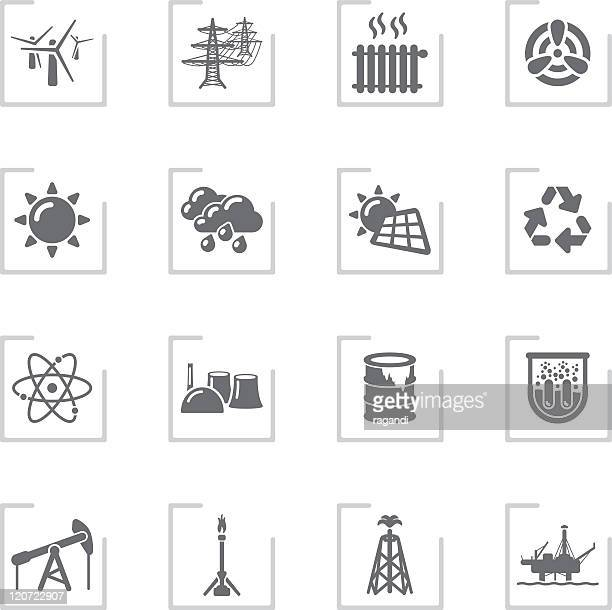 ecology & energy icons | framed grey - radiator heater stock illustrations, clip art, cartoons, & icons