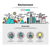 Ecology environment flat line web graphics