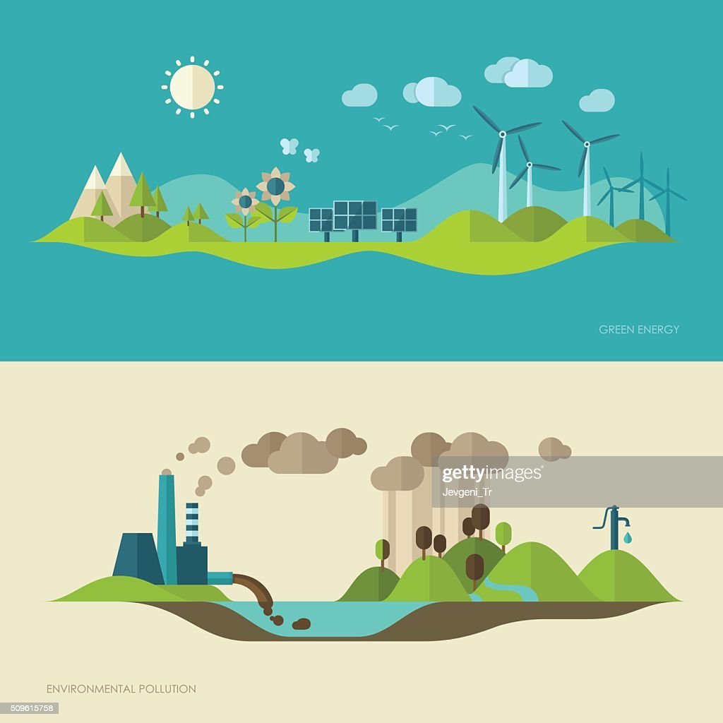 Ecology, environment, green energy and pollution concept illustrations