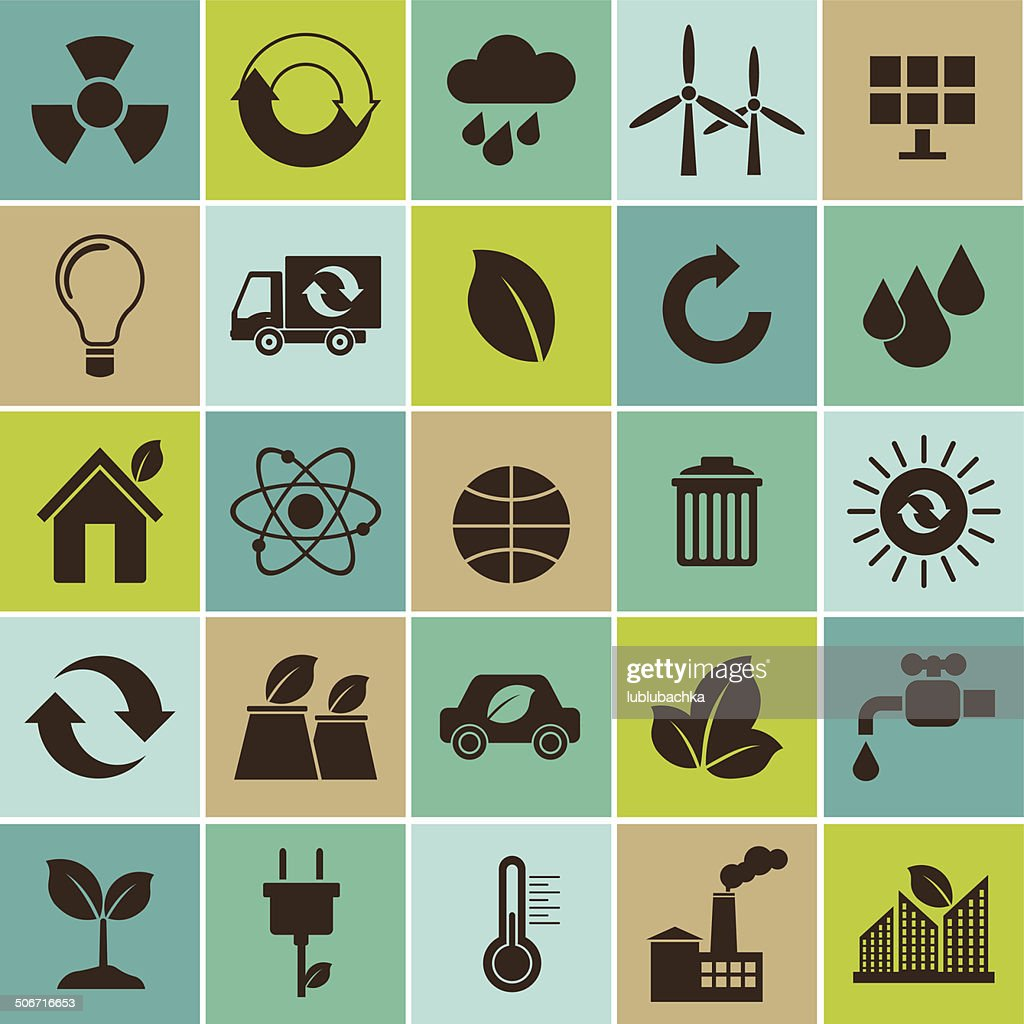 Ecology flat material design concept with environment icons set