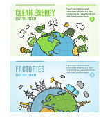 Ecology Flyer Clean Energy and Factories Banner Posters Card Set. Vector