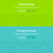 Ecology Green Energy Line Art Web Banners Set