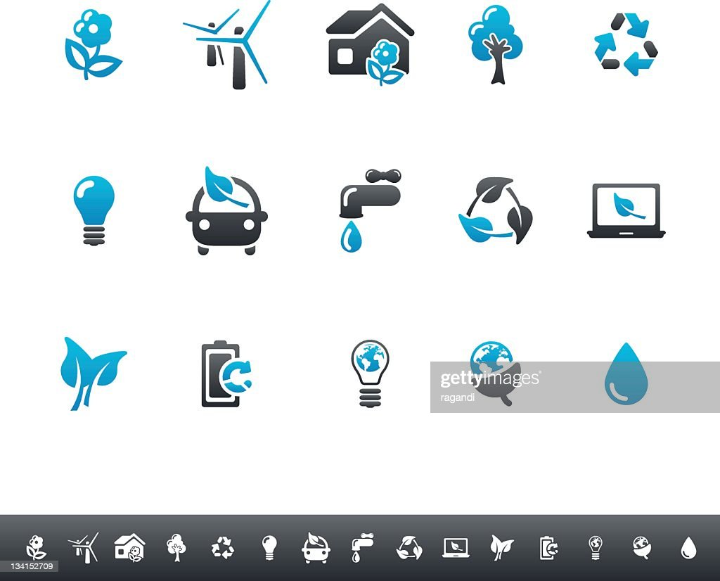 Ecology & Green Environment Icons | Blue Grey