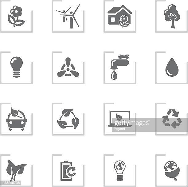 Ecology & Green Environment Icons | Framed Grey